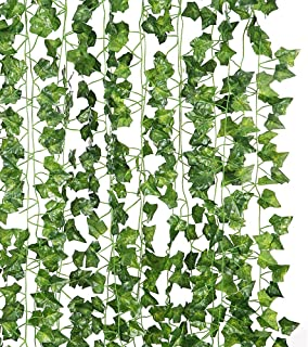 JUNGLE ELF 12 Pack/Per 82 inch Artificial Plant Fake Hanging Vine Ivy Leaves Greenery Garland for Wedding Backdrop, Jungle Decorations, Safari Party Supplies, Farmhouse Wreath (12 Pcs,82 Inch Each)