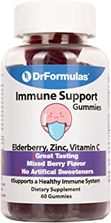 DrFormulas Zinc Vitamins for Adults Gummies & Kids with Sambucus Elderberry and Vitamin C | Immune Supplement, Gluten Free...