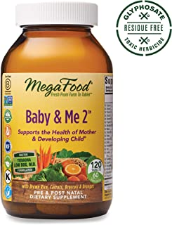 MegaFood, Baby & Me 2, Prenatal and Postnatal Vitamin, Dietary Supplement with Iron, Folate and Choline, Gluten-Free, Vegetarian, 120 Tablets