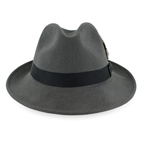 Belfry Crushable Dress Fedora Men s Vintage Style Hat 100% Pure Wool in  Black Blue Grey 714ecc87630