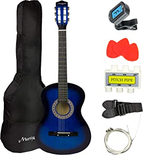 Martin Smith 6 38 Inch Acoustic Guitar Kit with Case, Plectrums, Tuner, Strap & Spare Strings, Blue, Right, (W-38-BL)