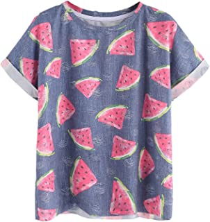 Women's Watermelon Print Ripped Rolled Short Sleeve T-Shirt