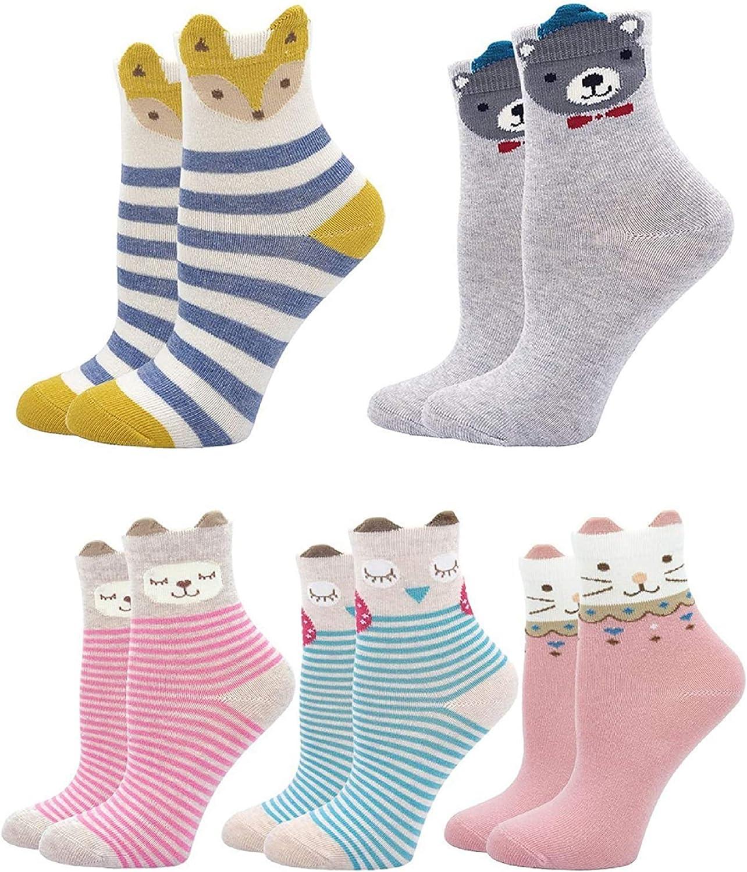 Kids Cotton Socks Animal Novelty Ankle Socks for Baby Infant Toddler 5 Pairs