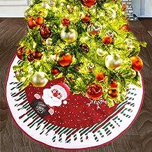 Kerstboom Rok rood pluche Xmas Tree Base Cover Trim Faux Fur Tree rok met het Patroon van Sneeuwvlokken for Holiday Home D...