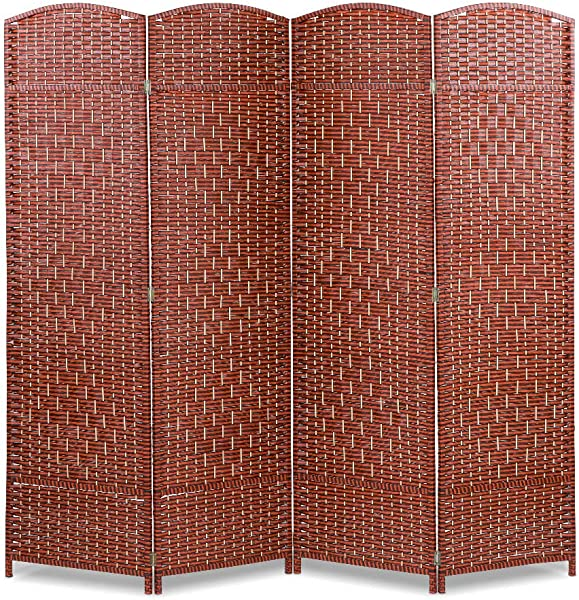 Greensen Folding Room Divider Screen 4 Panel Wood Privacy Screen 6ft Partition Wall Dividers Portable Freestanding For Home Office Wood Frame Tendon Rattan Double Weave Brown