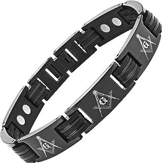 Men's Black Magnetic Titanium Masonic Freemasonry Bracelet Adjustable in Gift Box