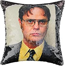 Merrycolor The Office Sequin Pillow Cover Dwight Schrute Magic Reversible Mermaid Throw Pillow Cover for Couch Decorative ...