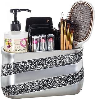 (Bathroom Organizer) - Dwellza Silver Mosaic Bathroom Counter Organiser- Vanity Organisers- Countertop Cosmetic Makeup Bru...