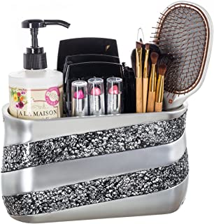 DWELLZA Silver Mosaic Bathroom Counter Vanity Organizer, Countertop Cosmetic Makeup Holder Hair Brush Caddy Hair Accessories Storage, 3-Compartments Decorative Bath Organization (Silver Gray)