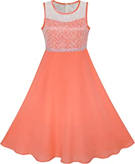 Sunny Girls Orange Cotton A Line Summer Dress Age 7-8 Years Dresses Girls' Clothing (2-16 Years)