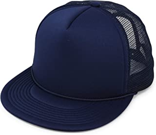 Flat Billed Trucker Hat Mesh Back S M L Adjustable Cap Solid Two Toned Snapback