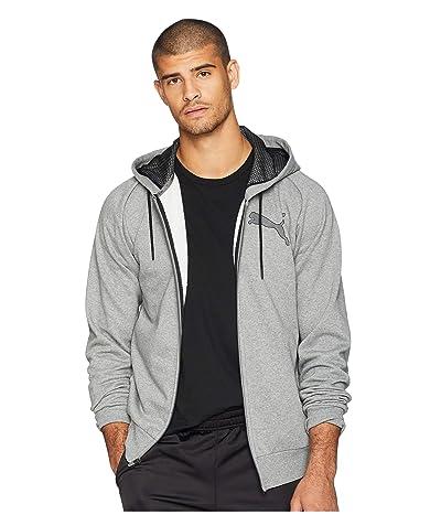 PUMA P48 Modern Sport Full Zip Fleece Hoodie (Medium Gray Heather) Men