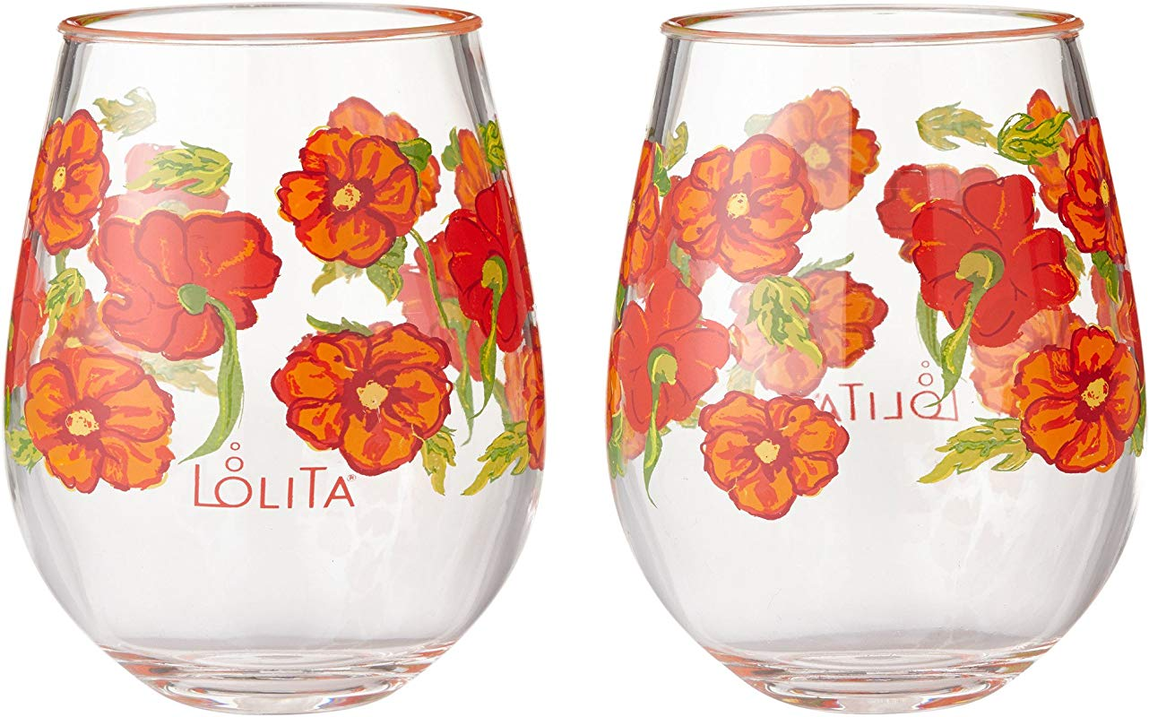 Enesco Designs By Lolita Best Of The Bunch Acrylic Stemless Wine Glasses Set Of 2 17 Oz