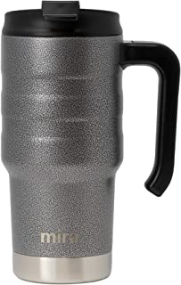 MIRA 20 Oz Stainless Steel Insulated Travel Car Mug | Spill Proof Twist On Flip Lid & Easy to Hold Handle | Double Wall Vacuum Insulated Coffee & Tea Mug Keeps Hot or Cold | Metallic Gray