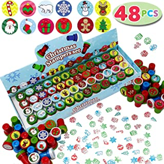 JOYIN 48 Pieces Christmas Assorted Stamps Kids Self-Ink Stampers (12 Different Designs, Plastic Stamps) for Christmas Part...