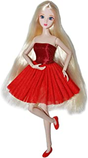 Eledoll Alice in Red Dress Fully Poseable Doll 3D Eyes Deluxe Collector Doll 1/6 Scale Ball Jointed Doll Articulated 12 inch BJD Fashion Doll