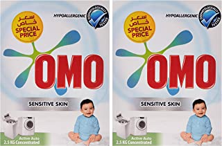 OMO Active Auto Laundry Detergent Powder Sensitive Skin, 2.5 Kg (Twin Pack)