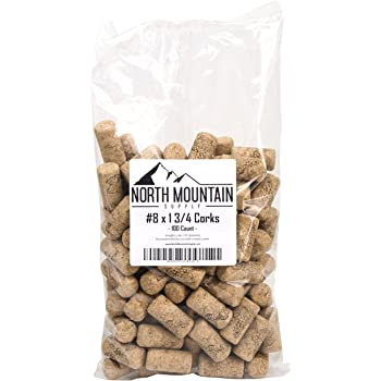 "North Mountain Supply #8 Premium Natural Agglomerated Corks 7/8"" x 1 3/4"" - Bag of 100"