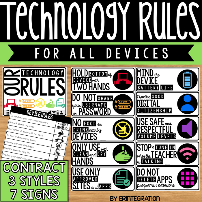Technology Rules Posters and Student Contract - 10 Rules - 7 Sign Choices - 3 Styles