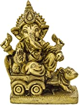 Exotic India ZCD69 Lord Riding a Mouse Chariot Ganesha Brass Statue, Yellow
