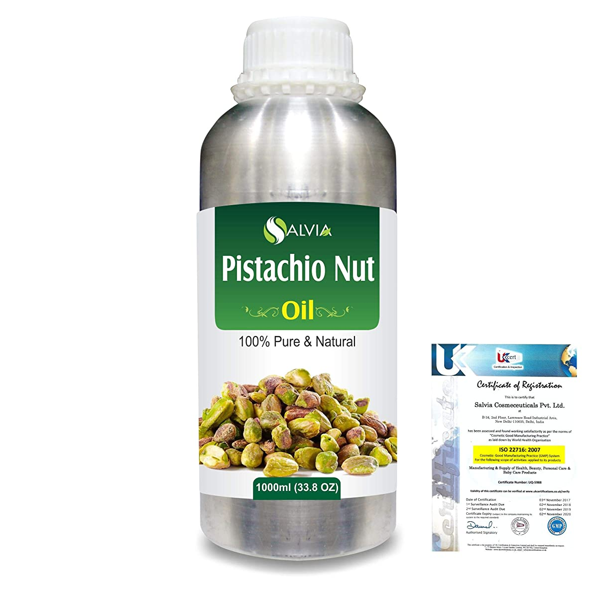 海嶺決定するトマトPistachio Nut (Pistacia vera)100% Natural Pure Carrier Oil 1000ml/33.8fl.oz.