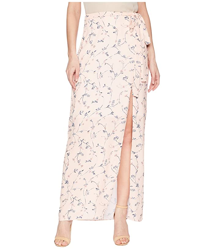 J.O.A. High Slit Maxi Skirt (Pink Floral) Women
