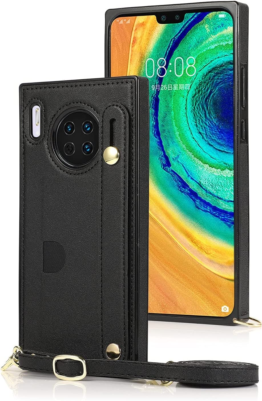 SLDiann Case for Huawei Mate 30, Leather Case with Credit Card Slot Non-Slip Buckle Holder/Crossbody Long Lanyard, Shockproof Leather TPU Case Cover for Huawei Mate 30 (Color : Black)