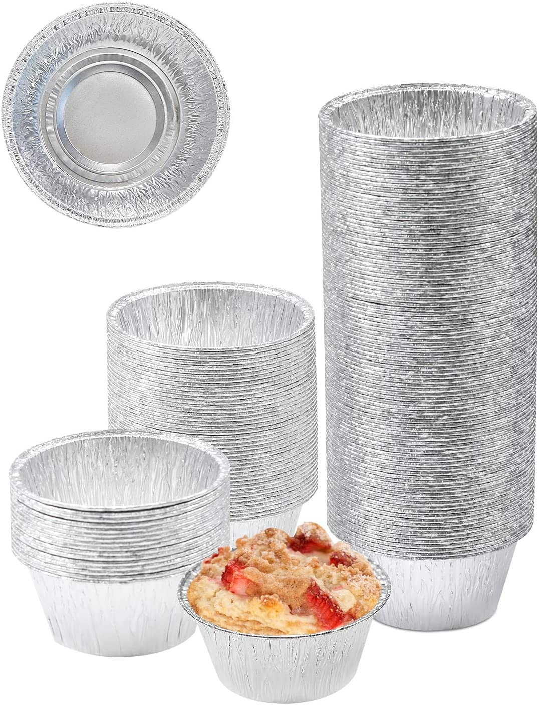FiveEyes Baking Cups Aluminum Foil 4 Disposable 150Pcs Ramekins Large discharge sale Spring new work one after another