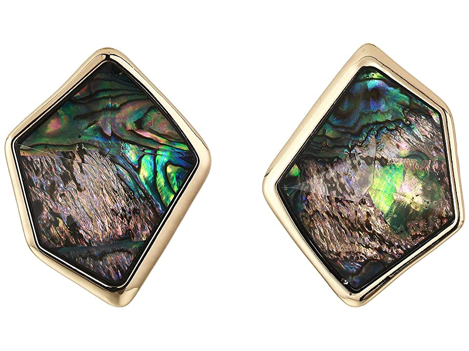 Robert Lee Morris - Robert Lee Morris Geometric Abalone Stone Clip-On Earrings