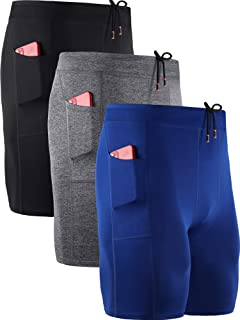 Neleus Men's 3 Pack Compression Shorts with Pockets, Dry Fit Professional Athletic Shorts