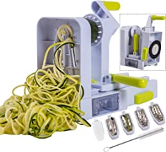 Brieftons QuickFold 5-Blade Spiralizer: 2018 Model, Versatile & Compact Foldable Vegetable Spiral Slicer, Best Veggie Past...