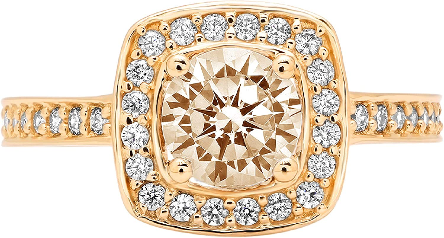 1.3ct Brilliant Round Cut Halo Solitaire Designer Genuine Natural Morganite Gemstone Ideal VVS1 Engagement Promise Statement Anniversary Bridal Wedding with accent ring 14k Yellow Gold