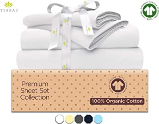Organic Cotton Bed Sheets Set - 500TC Queen Size Ultra White - 4 Piece Bedding - 100% GOTS Certified Extra Long Staple, Soft Sateen Weave Bedsheets - Fits 15