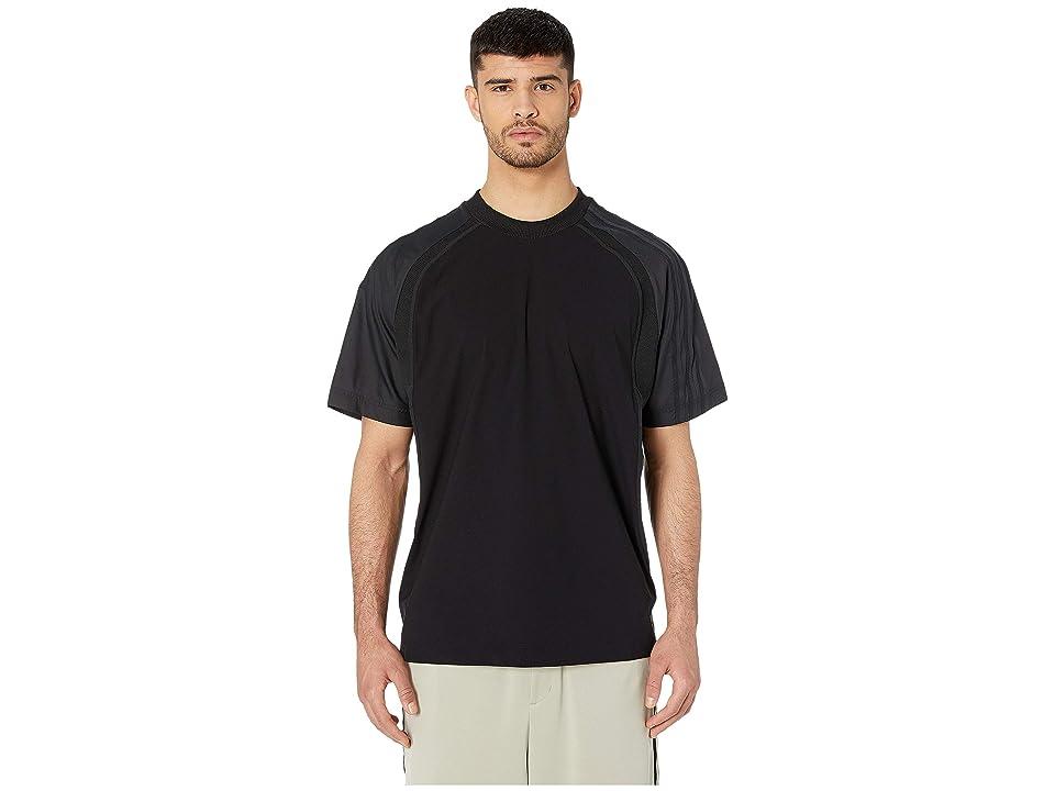 Image of adidas Y-3 by Yohji Yamamoto 3-Stripes Light Nylon - Mat Mix Short Sleeve Tee (Black) Men's Clothing