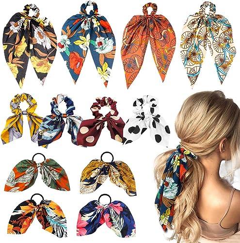 WATINC 12Pcs Mousseline De Soie Bowknot Chouchous Set Vintage Floral Élastiques Cheveux Cravates Écharpe Sans Trace S...
