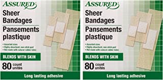 Assured Absorbent Sheer Bandages, Long Lasting, Blends with Skin, 3 Assorted Sizes, 160-ct