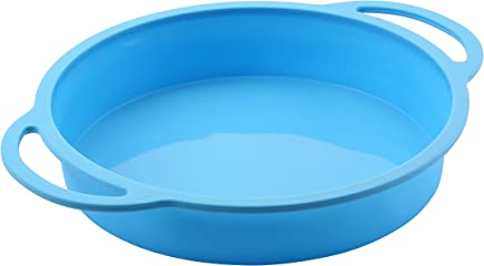 TRENDS home 8 Inch Silicone Round Baking Pan, Non-Stick Silicone Baking Molds, Round Cake Pan. Bakeware Set has Durability & Strength with Patented Reinforced Stainless Steel Frame. Dishwasher Safe