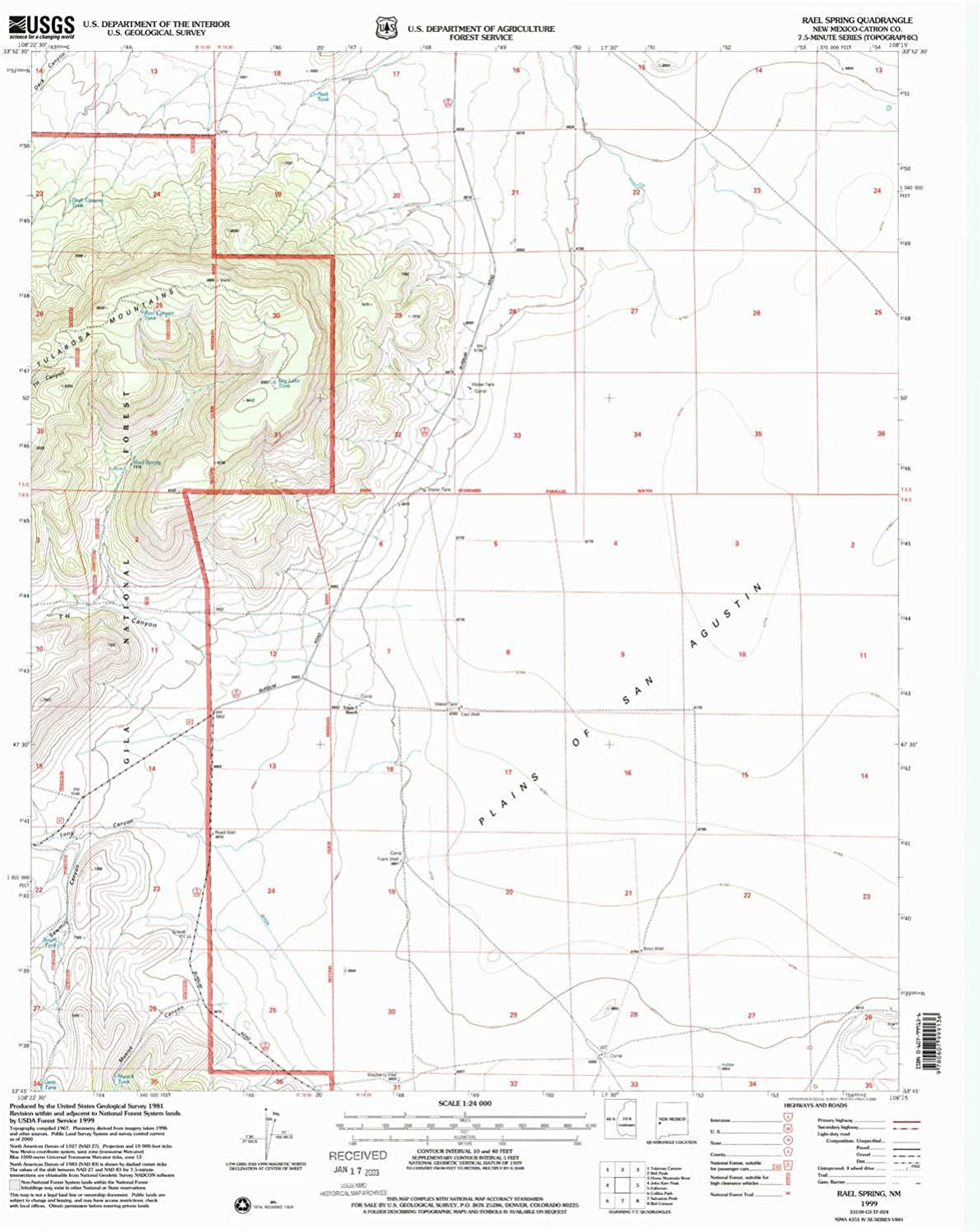 Rael Spring NM topo map, 1 24000 Scale, 7.5 X 7.5 Minute, Historical, 1999, Updated 2002, 27 x 22 in