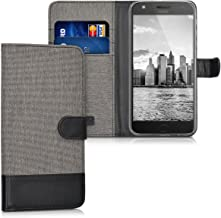 kwmobile Wallet Case for Motorola Moto Z Play - Fabric and PU Leather Flip Cover with Card Slots and Stand - Grey/Black