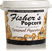 Fisher's Popcorn Caramel Popcorn, Gluten Free, 5 Simple Ingredients, Handmade, No Preservatives, No High Fructose Corn Syrup, Zero Trans Fat, 20oz Tub (1 Gallon)