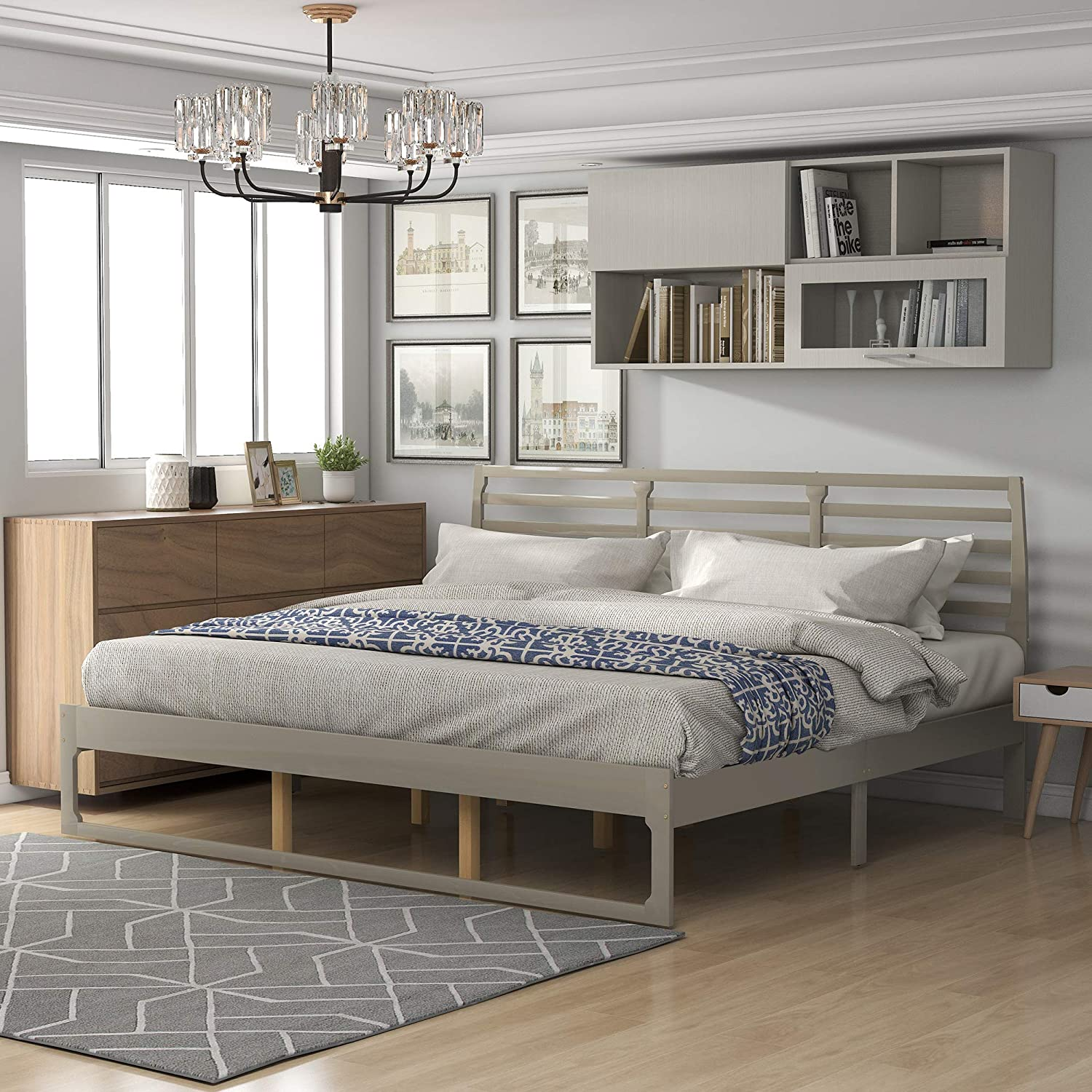 Wood Platform Bed Frame with No Tucson Mall Support Slat Special Campaign Box Headboard