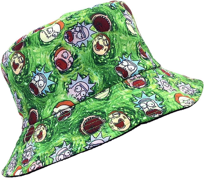 SINLOOG Bucket Hat, Rick and Morty Cartoon Sun Hat Reversible Two-Side-Wear Green or Black Fisherman Cap