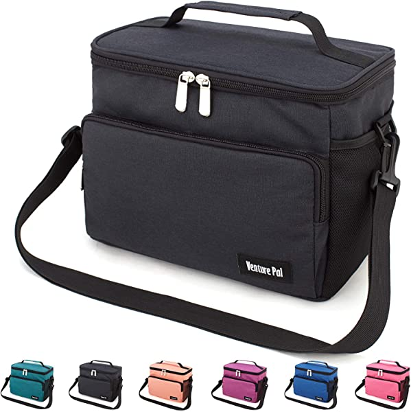 Leakproof Reusable Insulated Cooler Lunch Bag Office Work Picnic Hiking Beach Lunch Box Organizer With Adjustable Shoulder Strap For Women Men Black