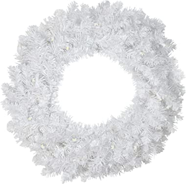 """Northlight 30"""" Pre-Lit LED White Pine Artificial Christmas Wreath - Clear Lights"""