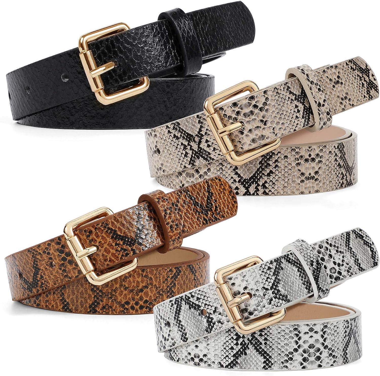 Womens Fashion Skinny Thin Belt Faux Print Bargain sale Leather Bel Snakeskin New sales