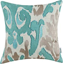 CaliTime High Class Throw Pillow Cover Case for Couch Sofa Home Decoration Vintage Ikat Style Applique Embroidered 18 X 18...