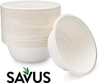 SAVUS 16 Oz Disposable Bowl, [50 count] - 100% Compostable Biodegradable Heavy Duty Eco-Friendly Sugarcane Fiber Bagasse Strong Tree Free Plastic Free Party Paper Bowls