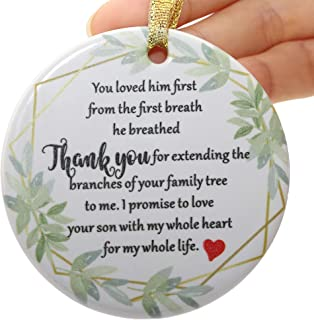 Two-Side Printed Ceramic Wedding Ornament from Bride for Mother of The Groom, Mother in Law Gift from Bride - I Promise to...