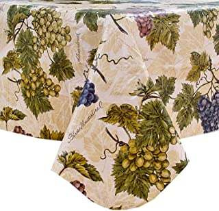 Newbridge Grapevine Vinyl Flannel Backed Tablecloth, Grape Theme Indoor/Outdoor Waterproof Tablecloth, Picnic, Barbeque, Patio and Kitchen Dining, 60 Inch x 84 Inch Oblong/Rectangle
