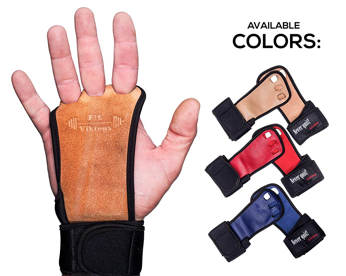 Crossfit Gloves and Gymnastics Grips - Workout Gloves with Wrist Support - Weight Lifting Gloves from Natural Leather - Gym Gloves for Cross Training - Hand Grips for Fitness- Fits Men and Women